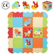 LUDI--Tapis-de-sol-pais-pour-lveil-de-bb--10006-puzzle-gant-aux-motifs-Animaux--ds-10-mois--lot-de-9-dalles-en-mousse-multicolores-et-44-lments-amovibles-pour-un-tapis-de-jeu-ou-parc-0
