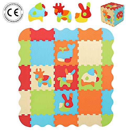 LUDI–Tapis-de-sol-pais-pour-lveil-de-bb–10006-puzzle-gant-aux-motifs-Animaux–ds-10-mois–lot-de-9-dalles-en-mousse-multicolores-et-44-lments-amovibles-pour-un-tapis-de-jeu-ou-parc-0